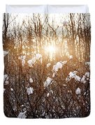 Setting Sun In Winter Forest Duvet Cover