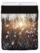 Setting Sun In Winter Forest Duvet Cover