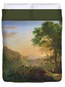 Setting Sun, Italy Oil On Canvas Duvet Cover