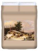 Settler's Log House Duvet Cover