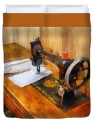 Sewing Machine With Orange Thread Duvet Cover