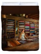Sewing - Minding The Mending Store Duvet Cover by Mike Savad