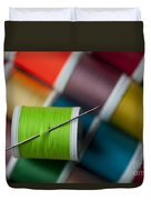 Sewing Needle With Bright Colored Spools Duvet Cover