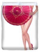Sexy Asian Woman With Red Oriental Umbrella Duvet Cover