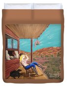 Sexy Cowgirl Sitting On A Chair At High Noon Duvet Cover