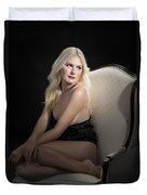Sexy Fine Art Blond Girl In Chair 1285.02 Duvet Cover