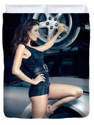 Sexy Mechanic Girl Posing With Cars Duvet Cover