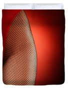 Sexy Woman Hips In Fishnet  Duvet Cover
