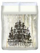 Shabby Chic Rustic Black Chandelier On White Washed Wood Duvet Cover