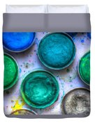 Shades Of Green Watercolor Duvet Cover