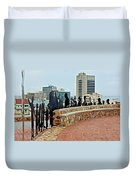 Shadow Representations Of People Coming To The Port In Donkin Reserve In Port Elizabeth-south Africa   Duvet Cover