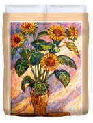 Shadows On Sunflowers Duvet Cover
