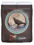 Shaman Black Raven And His Mate Medicine Woman Blue Fairy Animal Spirit Medicine Wheel Duvet Cover