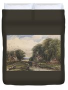Shardlow Lock With The Lock Keepers Cottage Duvet Cover by James Orrock