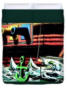 Shark And Pirate Ship Pop Art Posterized Photo Duvet Cover