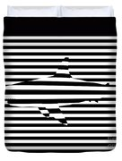 Shark Optical Illusion Duvet Cover by Pixel Chimp