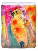 She Sings - Yellow Bird Art By Sharon Cummings Duvet Cover