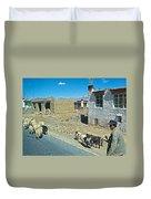 Sheep And Shepherd Along The Road To Shigatse-tibet Duvet Cover