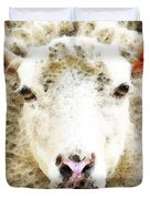 Sheep Art - White Sheep Duvet Cover