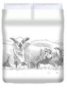 Sheep Drawing Duvet Cover