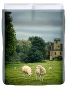 Sheep Grazing By Castle Duvet Cover