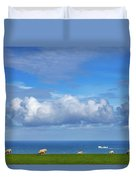 Sheep Grazing On The North Yorkshire Duvet Cover
