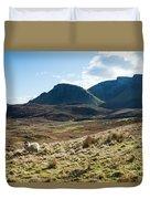 Sheep On Grassland Highlands Scotland Uk Duvet Cover