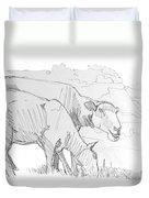 Sheep Pencil Drawing  Duvet Cover