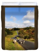 Sheep With Shepherd On A Quad Bike Duvet Cover