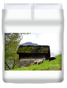 Sheeps And Rustic House Duvet Cover