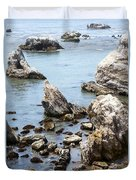 Shell Beach Rocky Coastline Duvet Cover