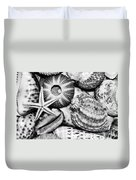 Shellscape In Monochrome Duvet Cover