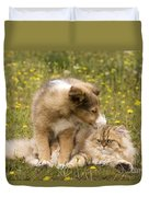 Sheltie Puppy And Persian Cat Duvet Cover