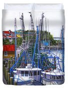 Shem Creek Shrimp Boats Duvet Cover