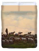 Shepherd With Sheep Standard Size Duvet Cover