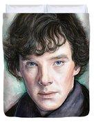 Sherlock Holmes Portrait Benedict Cumberbatch Duvet Cover by Olga Shvartsur