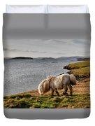 Shetland Pony At Shore  Shetland Duvet Cover