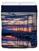 Shilshole Olympic Mountains Sunset Duvet Cover