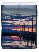 Shilshole Olympic Mountains Sunset Vertical Duvet Cover