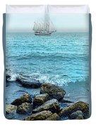 Ship At Sea Duvet Cover