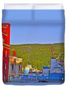 Ship At The End Of Water Street In Saint John's-nl Duvet Cover