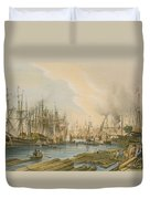 Ship Building At Limehouse Duvet Cover