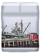 Ship Docked In Lunenburg-ns Duvet Cover