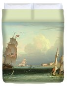 Ship Going Out, Fort Independence Duvet Cover