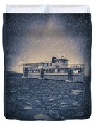 Ship In A Snowstorm Duvet Cover