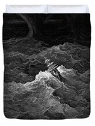 Ship In Stormy Sea Duvet Cover