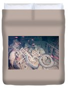Motorbikes On A Ship Wreck Duvet Cover