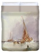 Shipping In The Solent 19th Century Duvet Cover