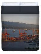 Shipping Terminals Port Of Vancouver Duvet Cover