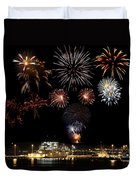 Ships And Fireworks Duvet Cover